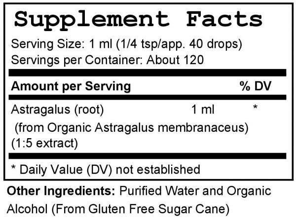 Astragulus Tincture Supplement Facts & Ingredients